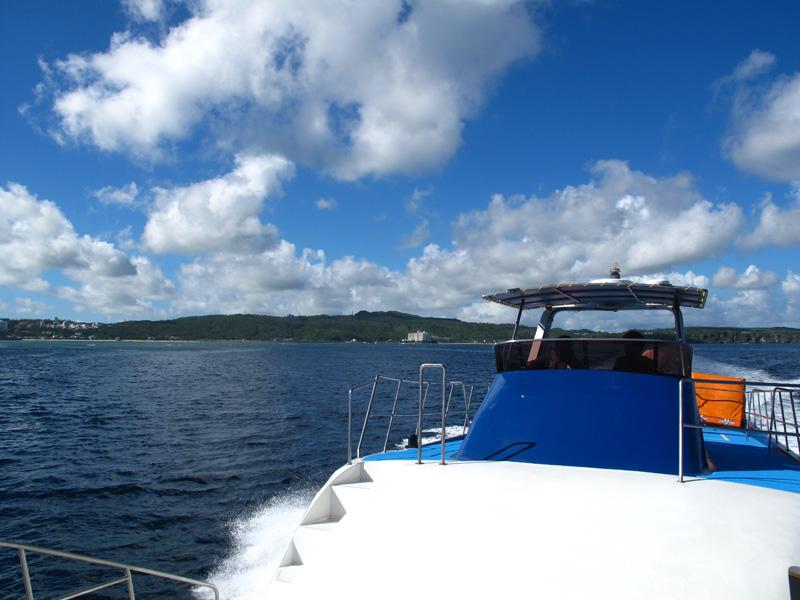 ポイントまでボートで移動